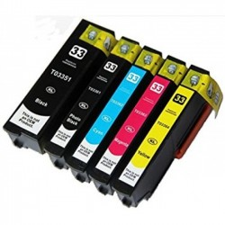 Pack 5 Tinteiros Compatíveis Epson 33 XL - T3351/T3361/2/3/4