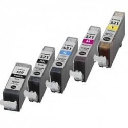 Pack 5 Tinteiros Canon Compatíveis PGI-520BK/CLI-521BK/CLI-521C/CLI-521M/CLI-521Y