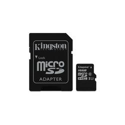 Cartão Kingston Micro SDHC 16GB Canvas Select 80R CL10 UHS-I Card + SD Adapter