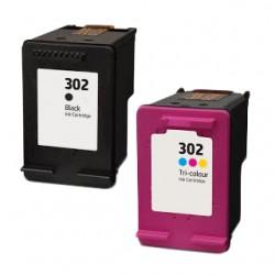 Conjunto 2 Tinteiros Compatíveis HP 302 XL (F6U68AE) (F6U67AE)
