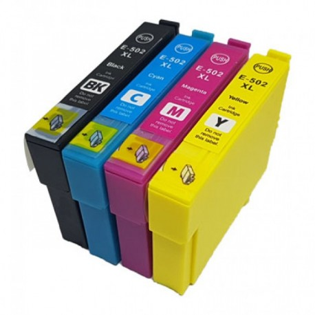 Conjunto Pack 4 Tinteiros Epson 502 XL Compatíveis